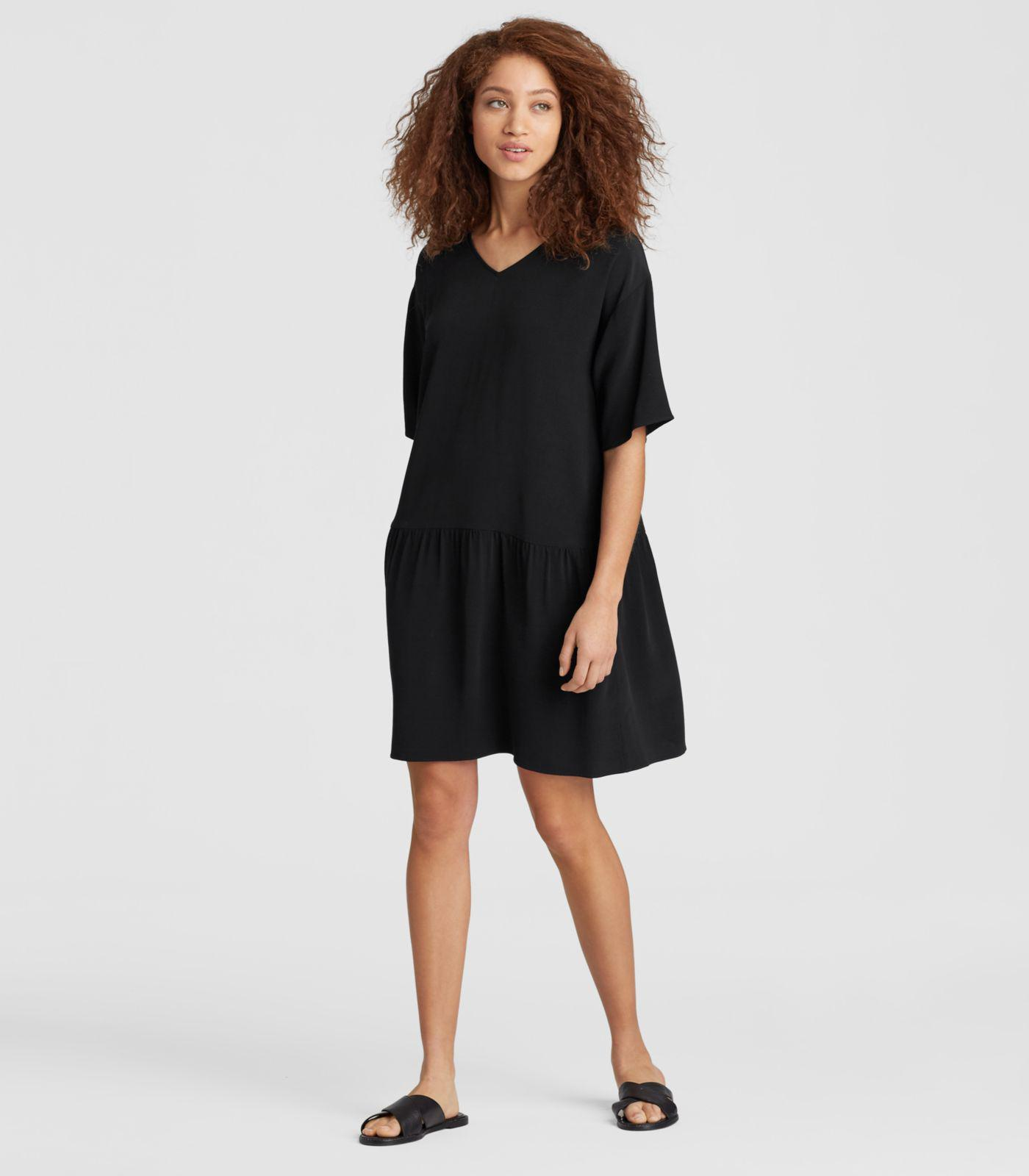 e8b9596b33 Lyst - Eileen Fisher Viscose Crepe Drop-waist Dress in Black