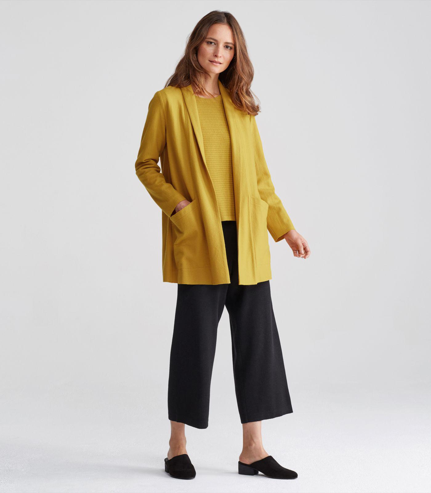 04dc359bc41 Lyst - Eileen Fisher Boiled Wool Jersey Shawl Collar Long Jacket in ...