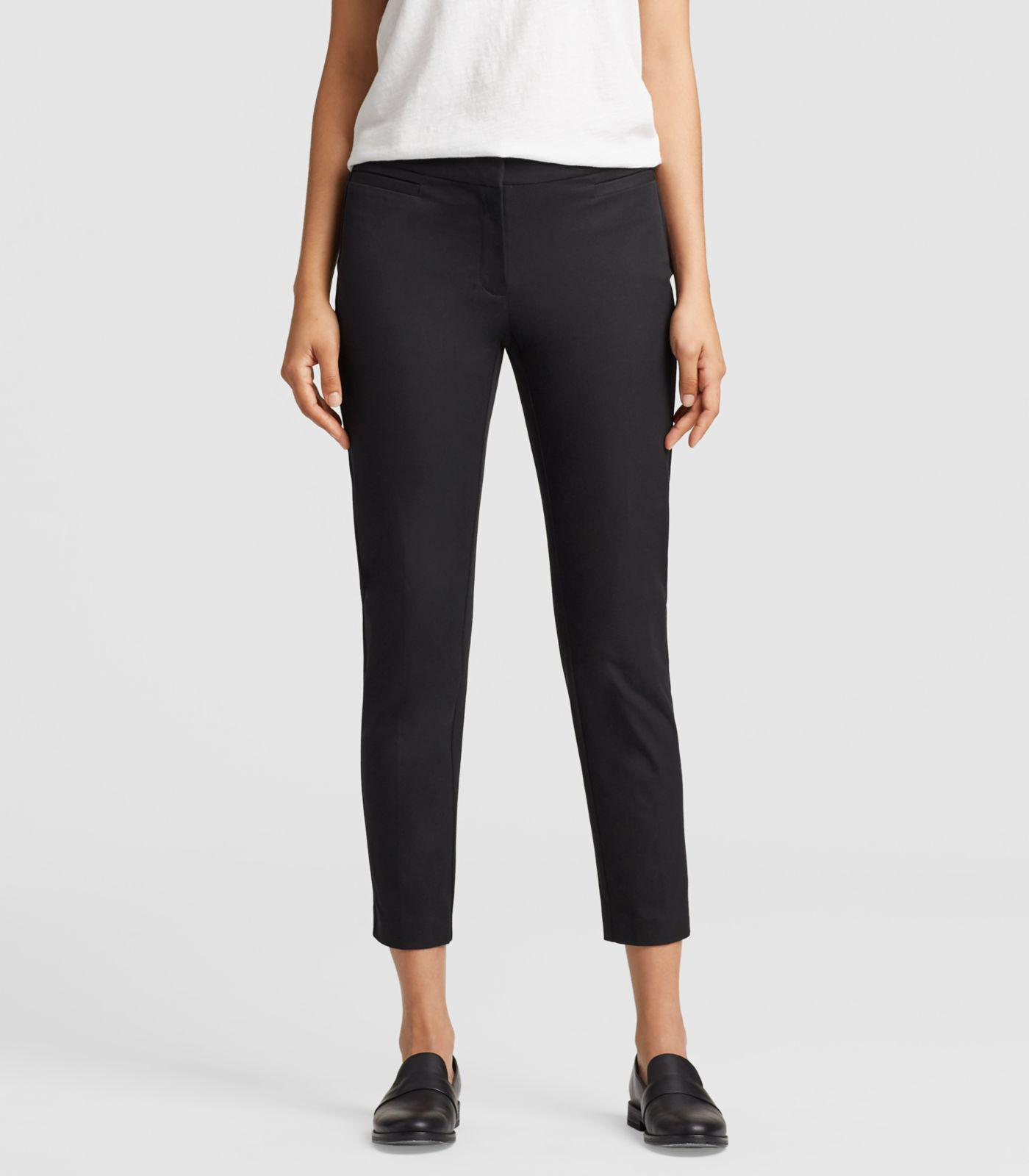 1d74ee6872 Eileen Fisher - Black Organic Cotton Stretch Twill Slim Ankle Pant With  Side Zip - Lyst. View fullscreen