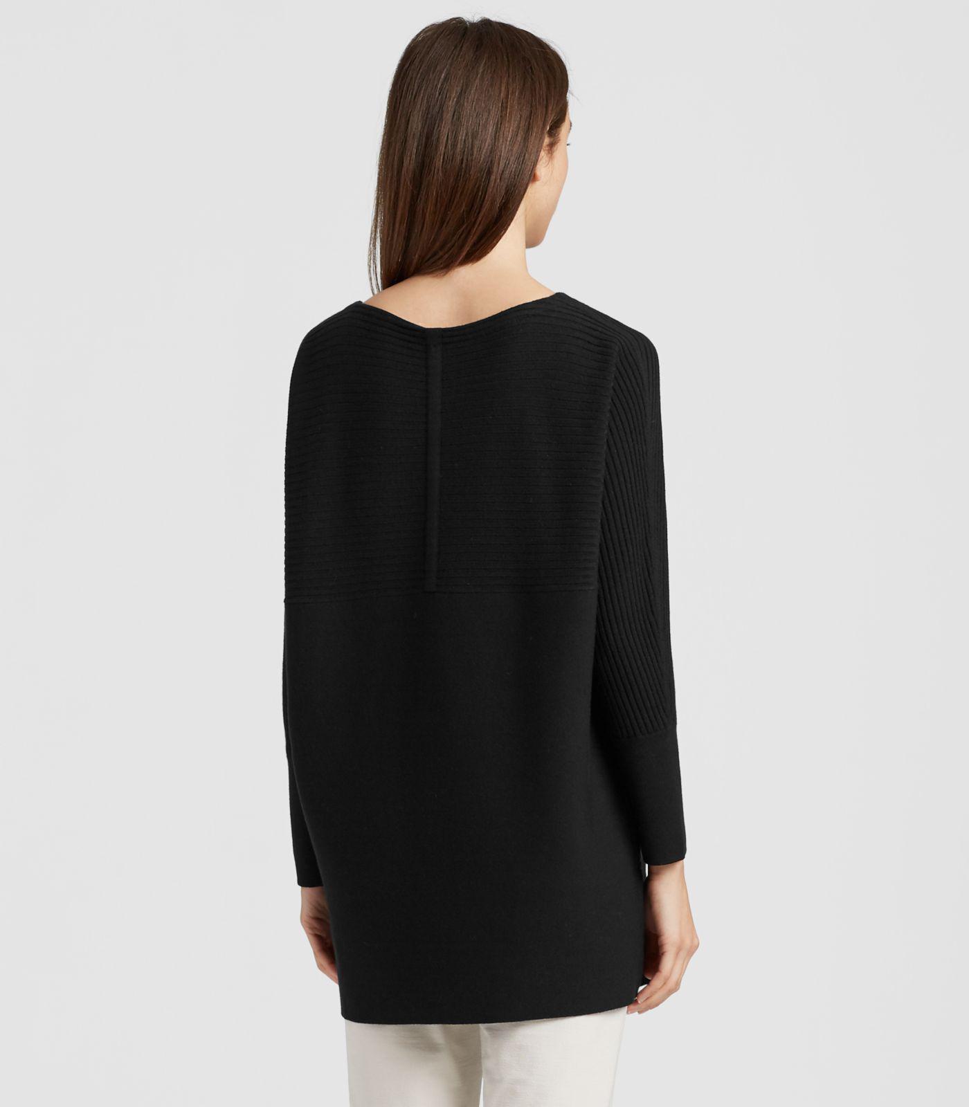 620f334625bf85 Lyst - Eileen Fisher Luxe Merino Stretch Tunic in Black