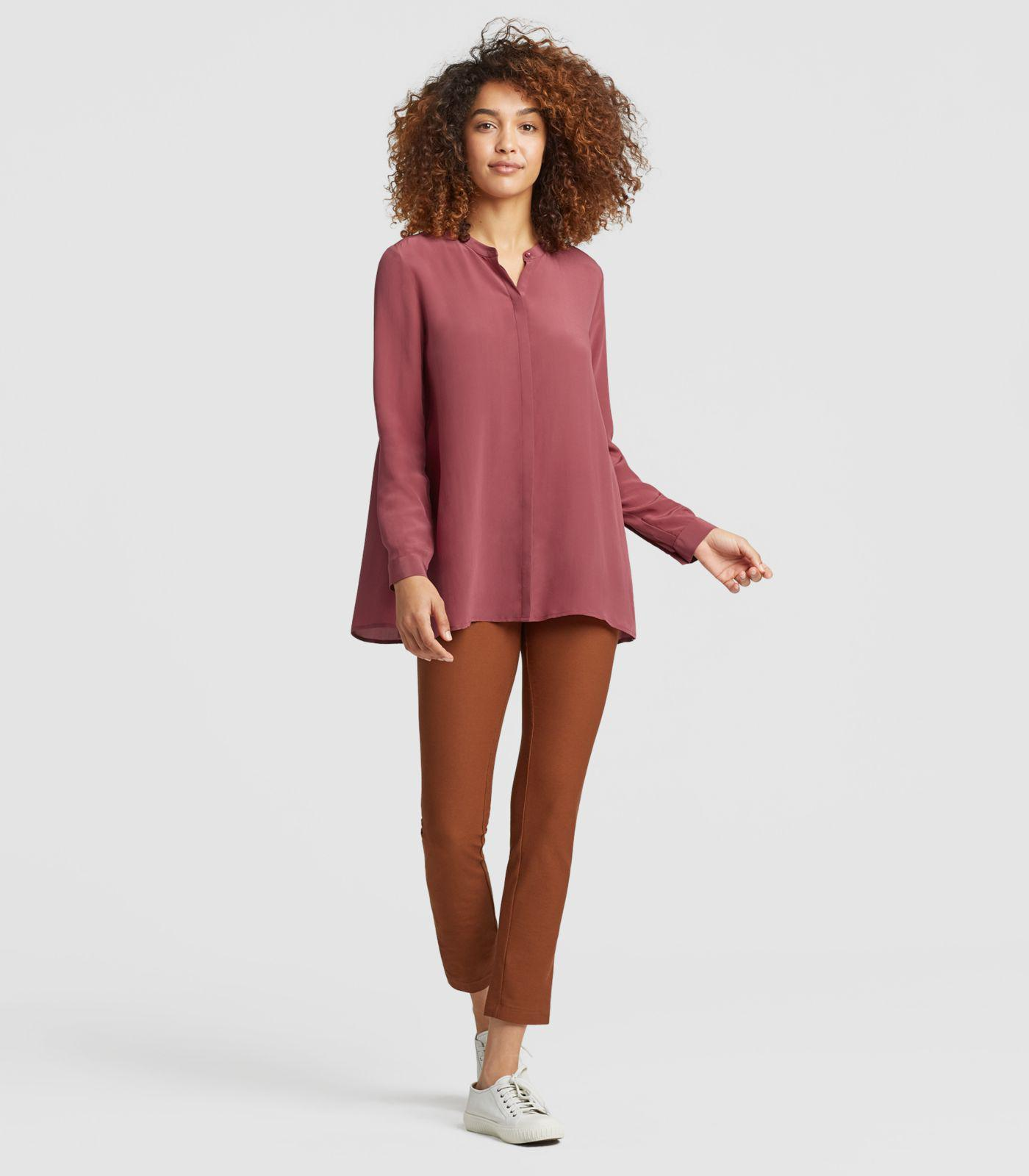 dd90f07821774 Lyst - Eileen Fisher Silk Crepe De Chine A-line Shirt in Red - Save 48%