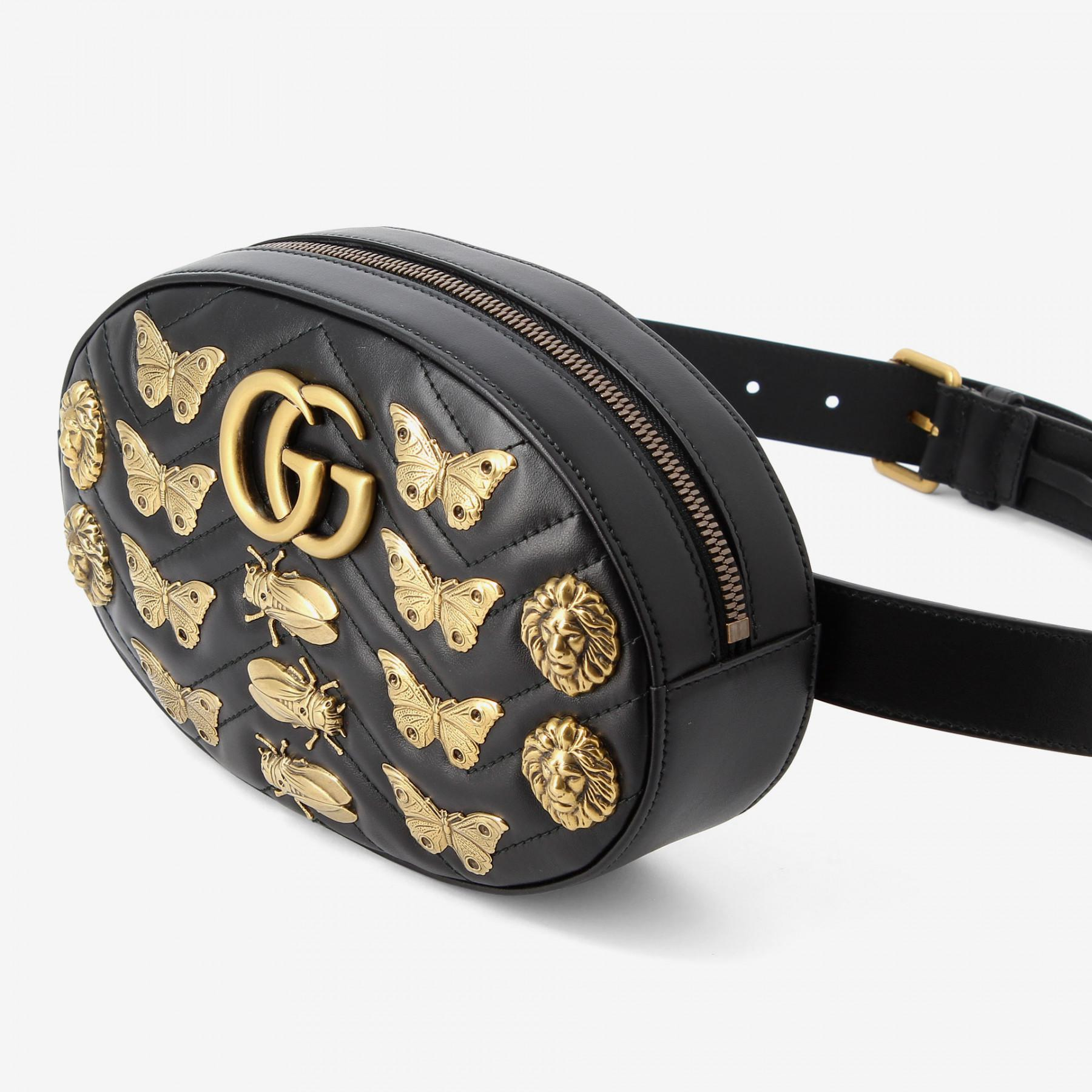 aef3c659af7a Gucci Marmont Animal Studs Leather Belt Bag in Black - Lyst