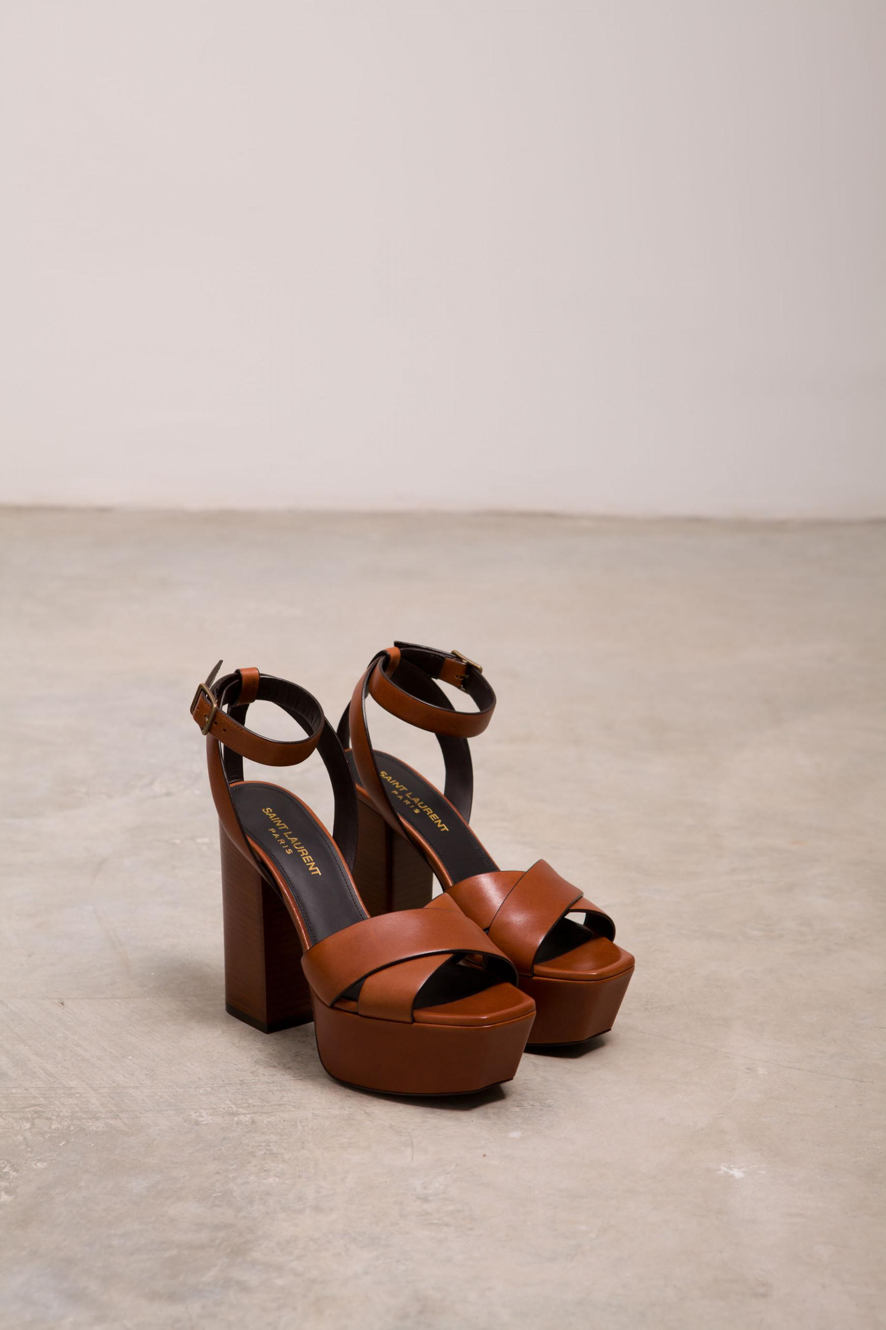 9c9b64aa488 Saint Laurent Farrah Platform Sandals in Orange - Lyst