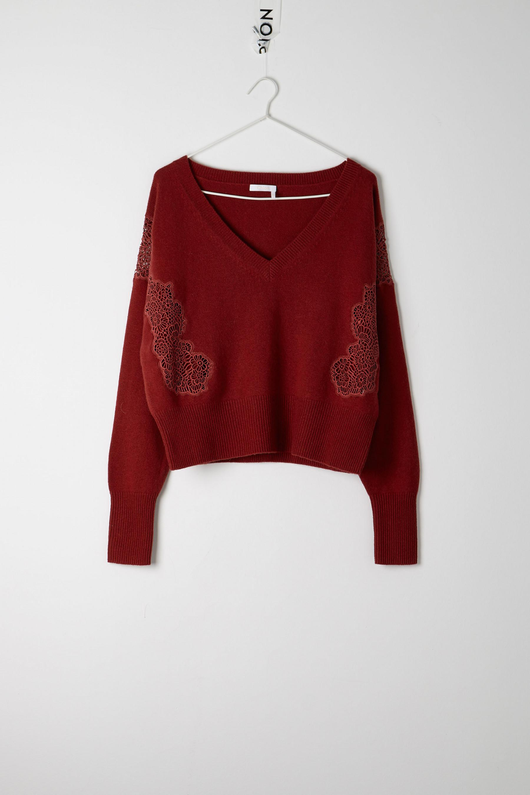 Chloé Lace Sweater in Red - Save 41% | Lyst