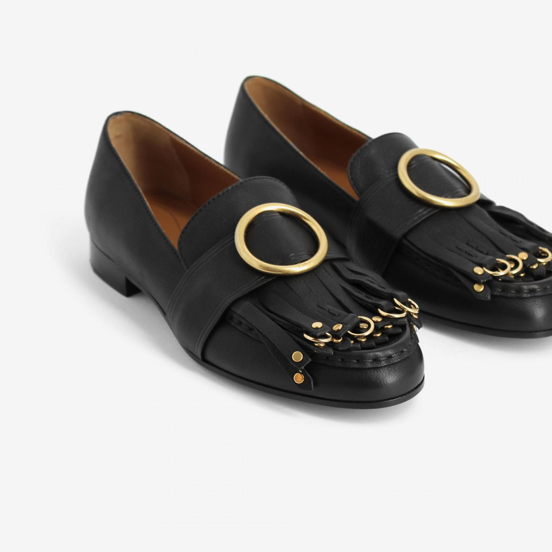 Lyst In Chloé Olly Loafers Black Flat nRU8qxU