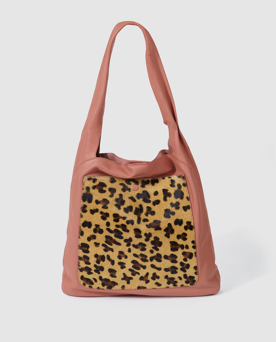Jo   Mr. Joe Nude Pink Nappa Leather Shopper Bag With Leopard Detail ... 0c20bc54ec015