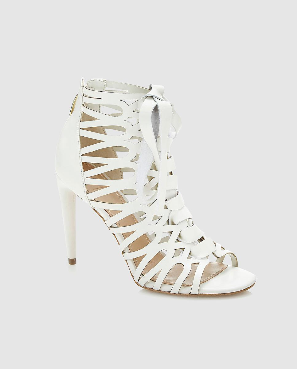 2f75c60881b3b Lyst - Guess White High Heel Sandals With Straps in White