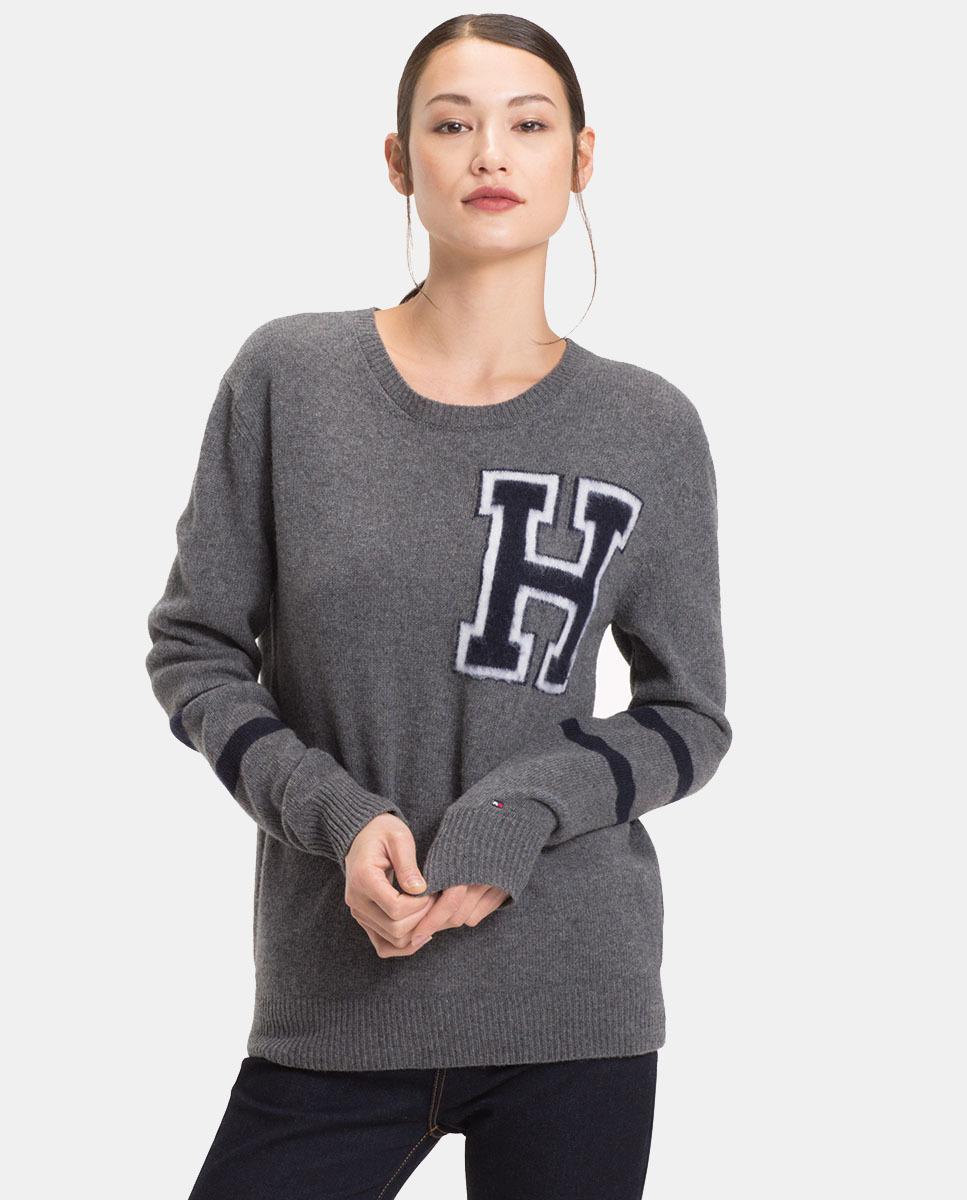 Tommy Hilfiger Women S Gray College Logo Jumper