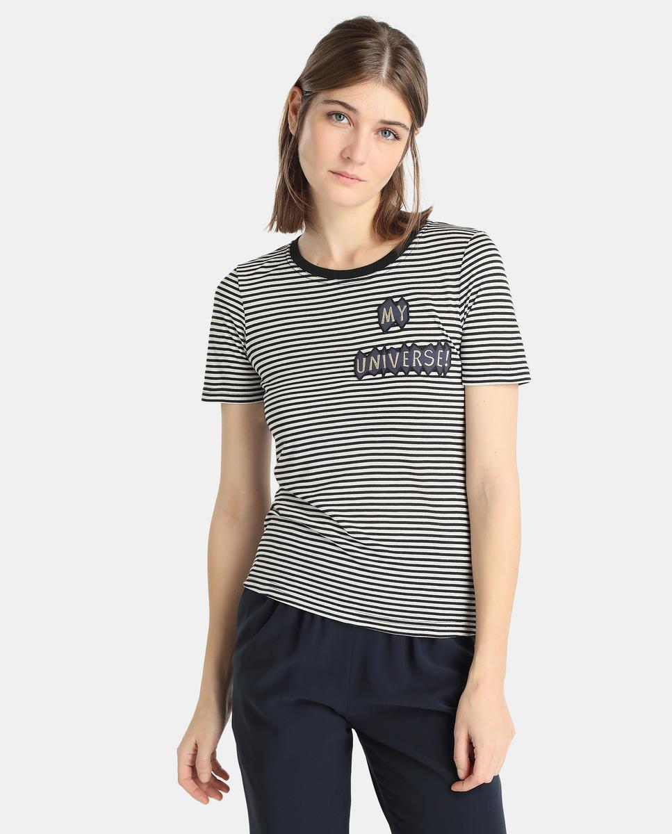 4a927e9469a Lyst - Emporio Armani T-shirt Rayé Femme Avec Broderie