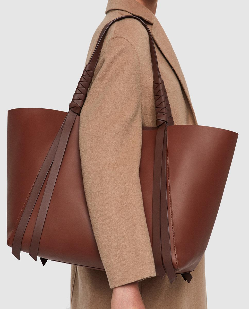 fdb447df1156 Lyst - AllSaints Voltaire Large Brown Leather Tote Bag With Bands in Brown  - Save 7%