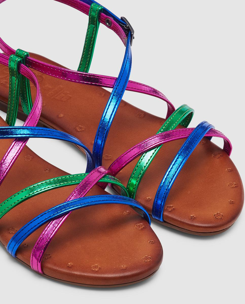 0ca55f49 Porronet Flat Sandals With Multicoloured Metallic Straps - Lyst
