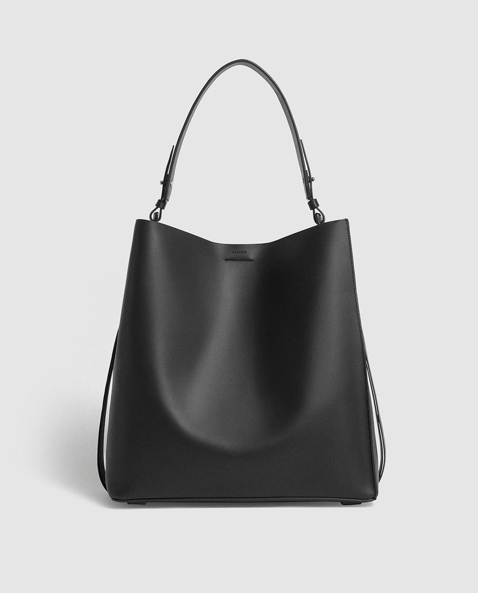 32aa49bd3f AllSaints - Voltaire Black Leather Tote Bag With A Removable Pocket - Lyst.  View fullscreen