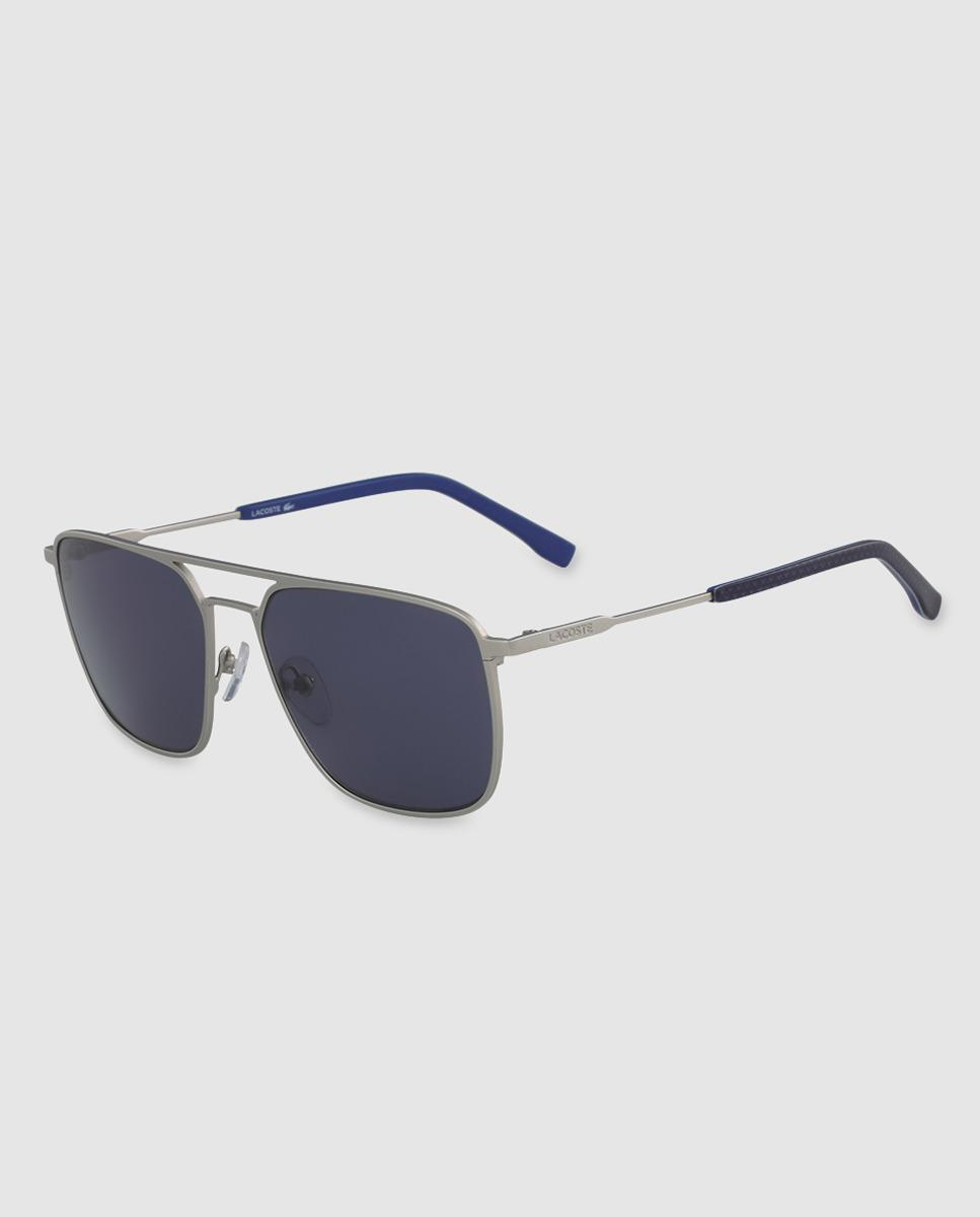 4b55136d9417 Lacoste Mens Rectangular Sunglasses With Blue Lenses in Metallic for ...