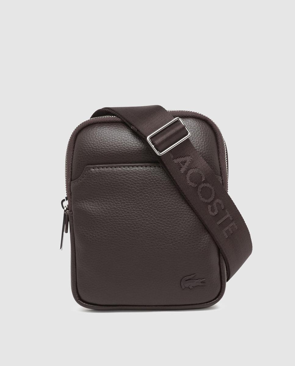 5078a2ab85283 Lyst - Lacoste Medium Dark Brown Messenger Bag With Zip And ...