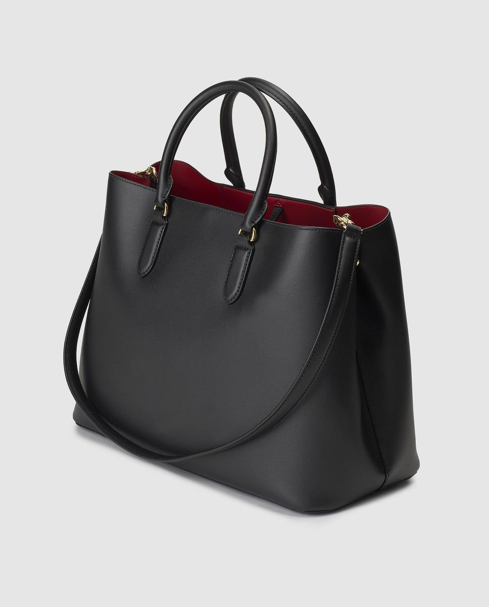 27e0260c4f05 Lauren by Ralph Lauren Black Leather Handbag With Red Interior in Black -  Lyst