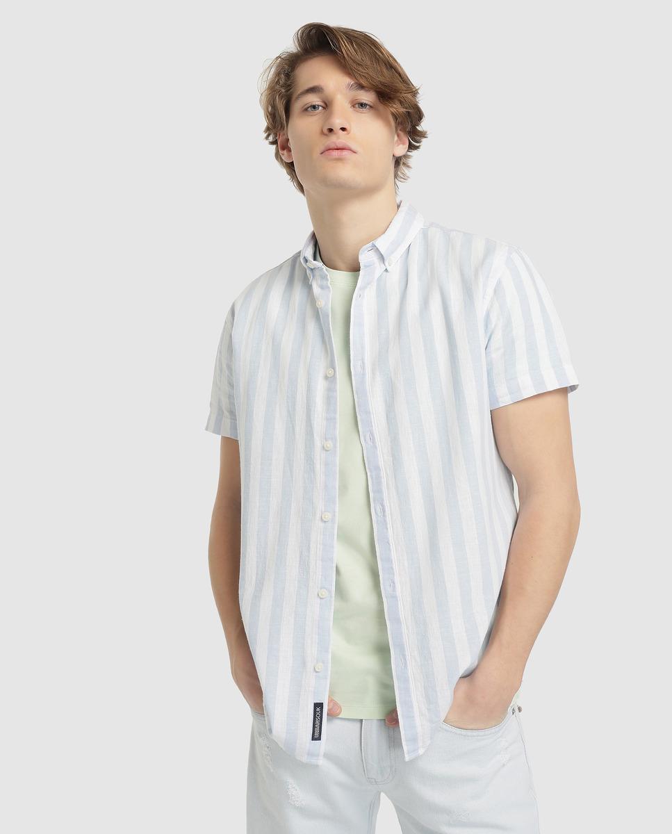 c915b0dc9d88 Green Coast. Men's Slim-fit Pale Blue Striped Linen Shirt. £26 From El  Corte Ingles
