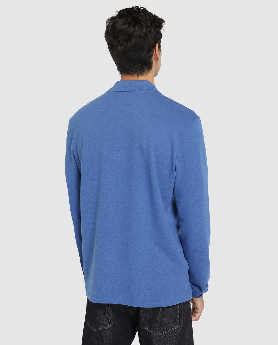 2c682296 Lacoste Blue Long Sleeve Piqué Polo Shirt in Blue for Men - Lyst