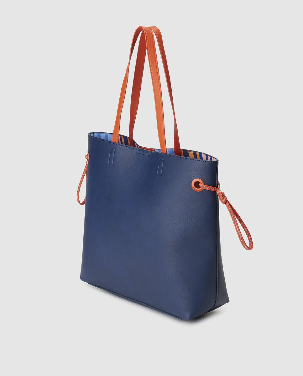 1a01fbad8 Jo & Mr. Joe Superchunk Navy Blue Tote With Printed Interior in Blue - Lyst