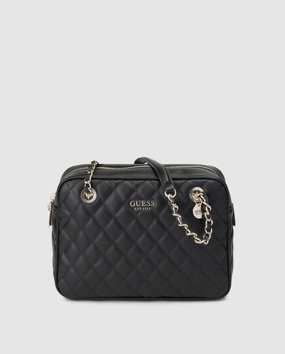 61e3e42147a0 Guess - Black Quilted Shoulder Bag With Chain Strap - Lyst. View fullscreen