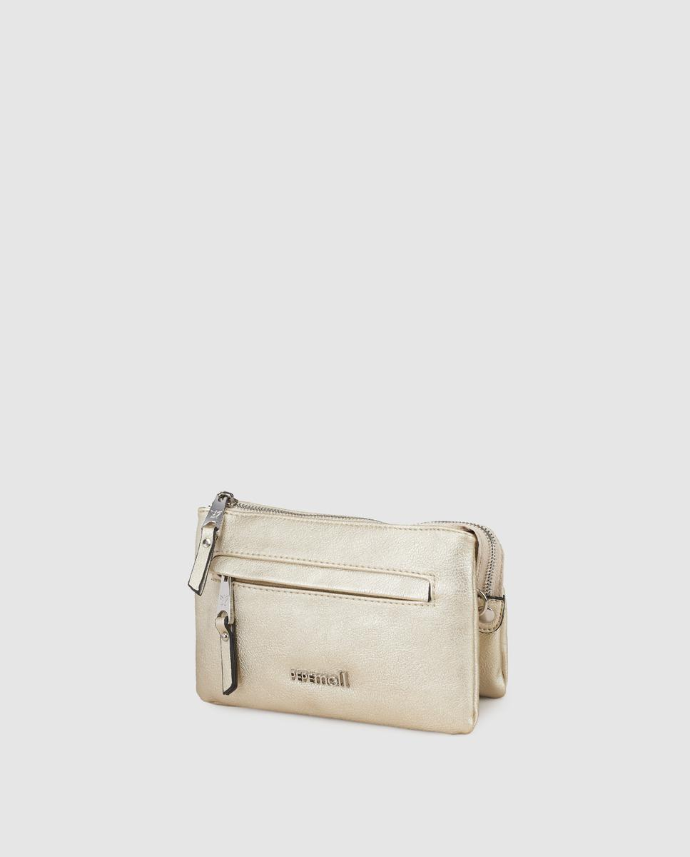 c95ebbc877ca Lyst - Pepe Moll Wo Small Gold Crossbody Bag With Brand Detail in ...