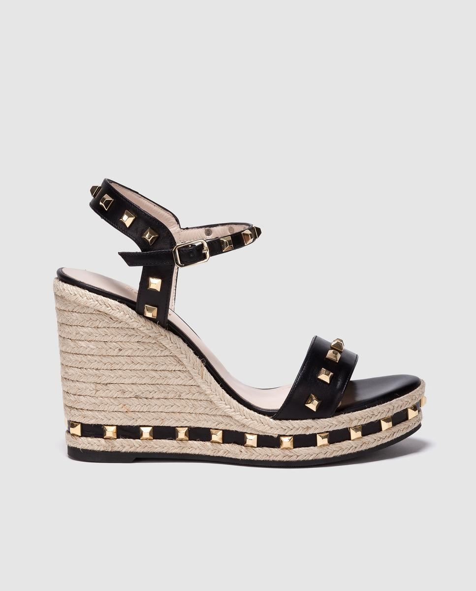 10ba994c83d Lodi Black Leather Wedge Espadrilles With Golden Studs in Black - Lyst