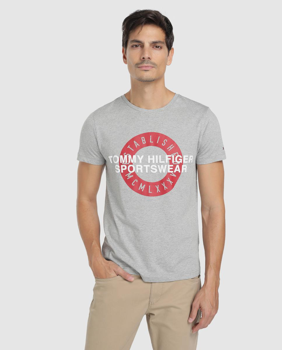 0b78535ba25d7 Tommy Hilfiger Grey Short Sleeve T-shirt in Gray for Men - Lyst