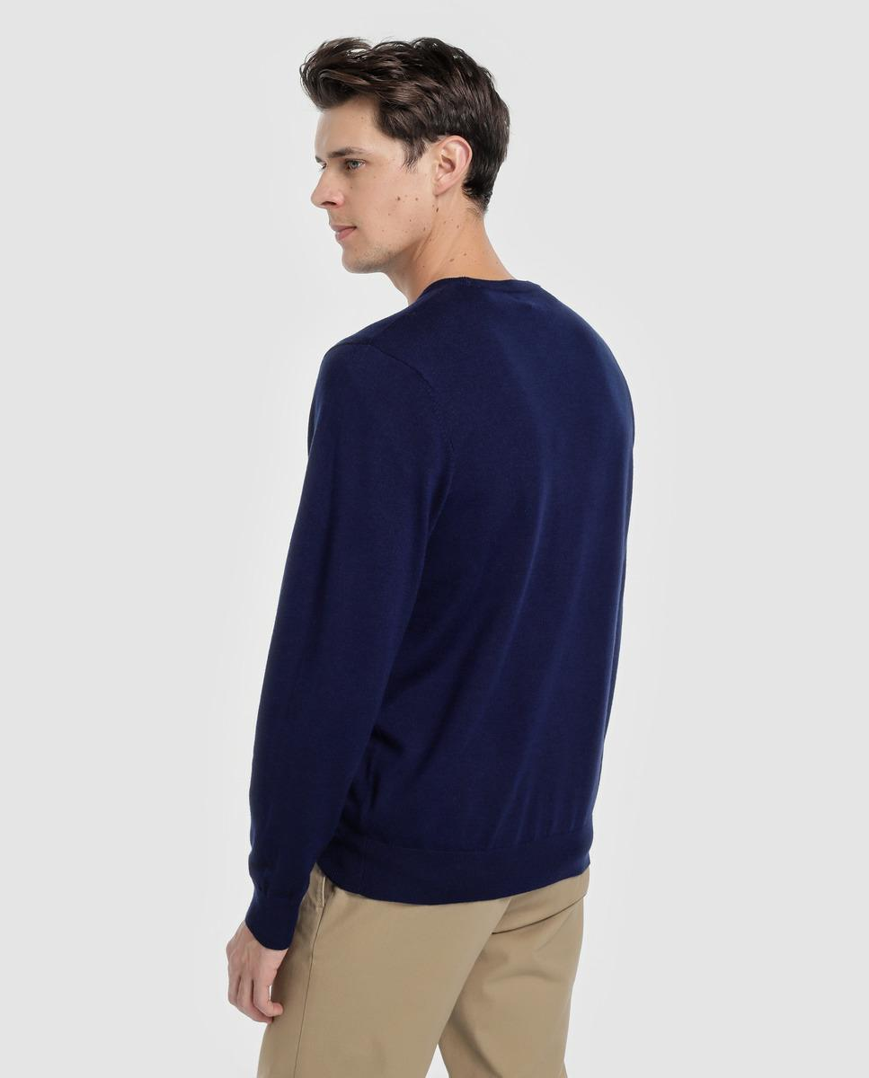 2588ea97be9 Lyst - Polo Ralph Lauren Blue Fine Merino Wool Sweater With A Round Collar  in Blue for Men