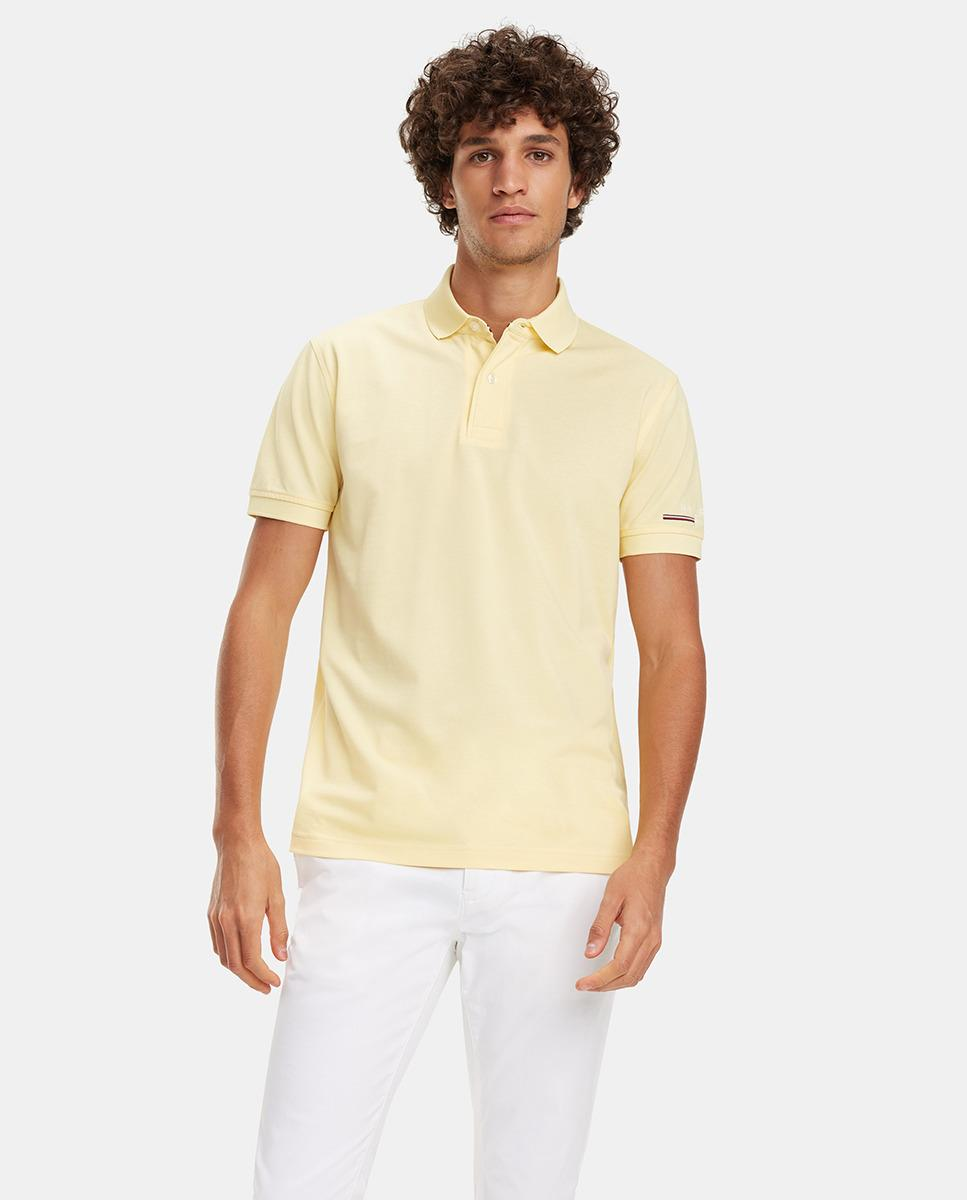 524b73743 Tommy Hilfiger. Men s Regular-fit Yellow Short Sleeve Piqué Polo Shirt