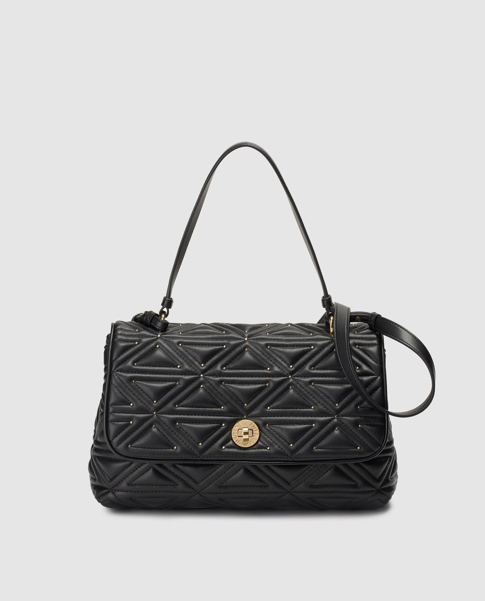 d3371dea9a7f Lyst - Emporio Armani Black Quilted Handbag With Engraved Fastener ...