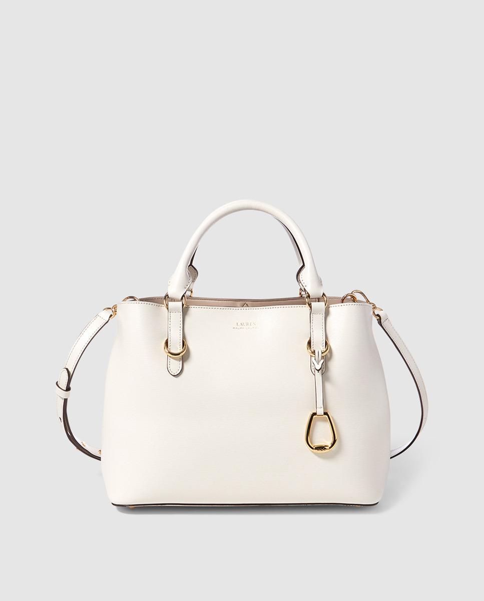 Lauren by Ralph Lauren White Calfskin Leather Handbag With Pendant ... 697b66a0915a1