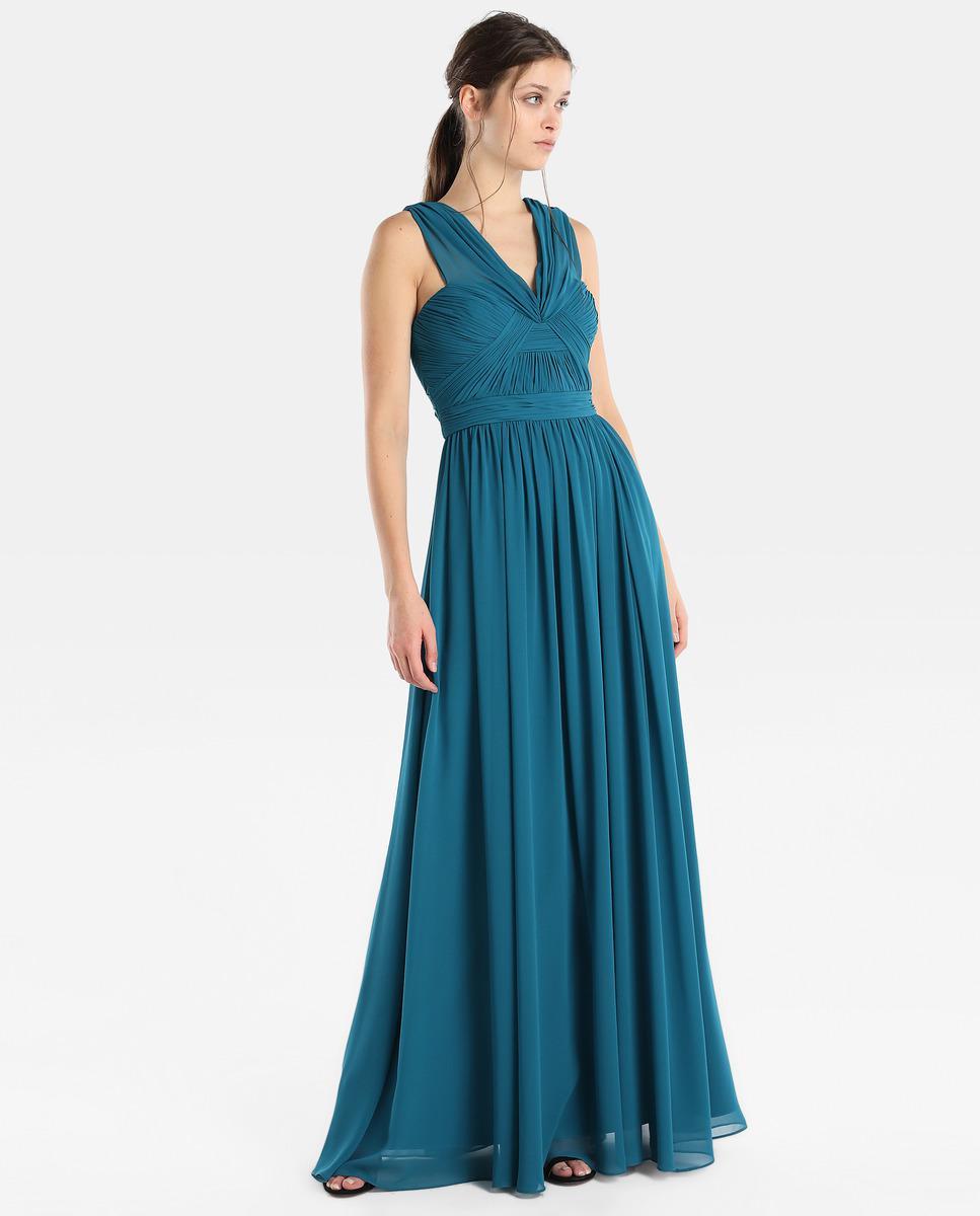 Lyst - Vera Wang Draped Halter Neck Evening Dress in Blue