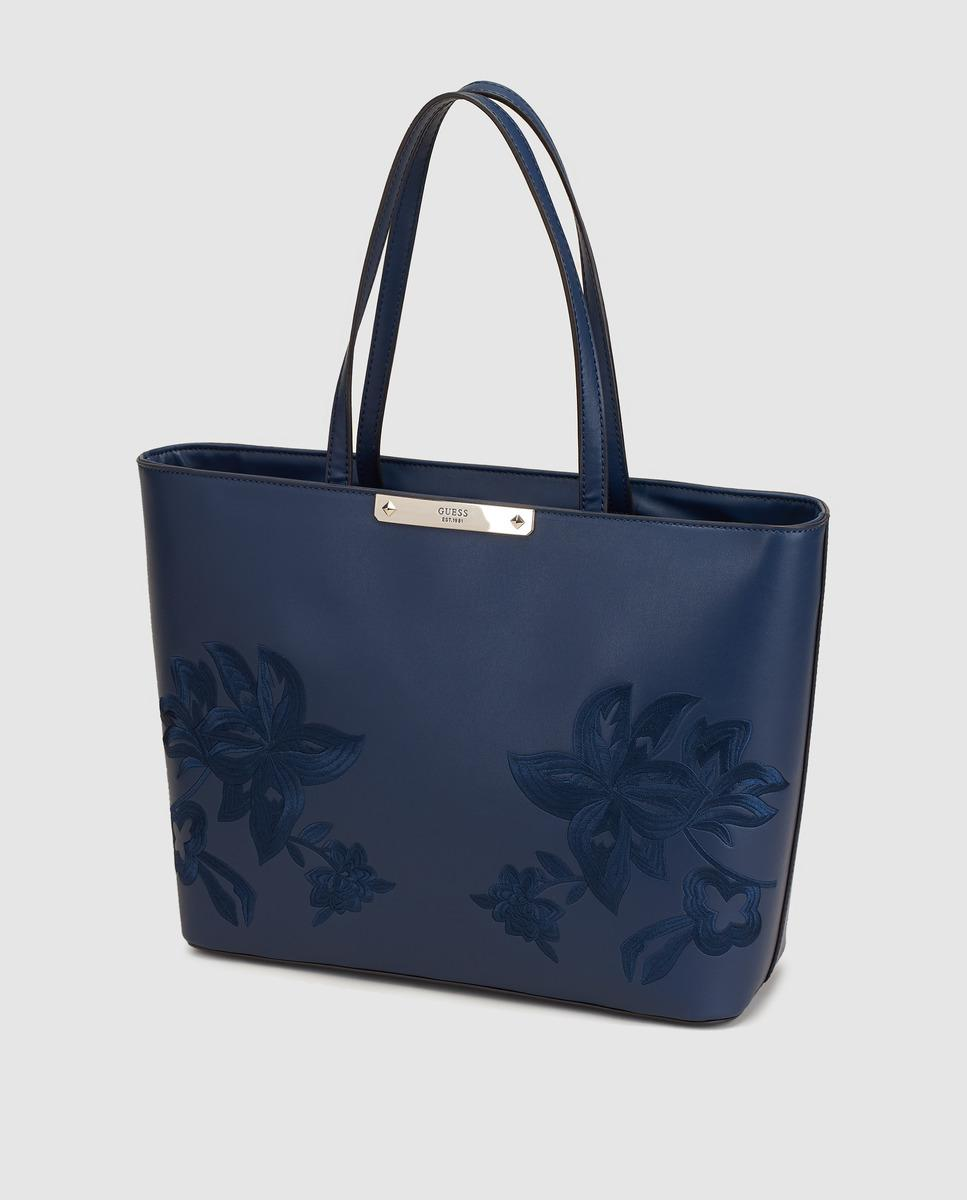 Guess Navy Blue Rigid Tote Bag With Floral