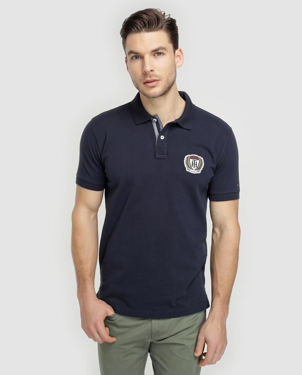 Lyst Tommy Hilfiger Blue Short Sleeved Piqu Polo Shirt In Blue