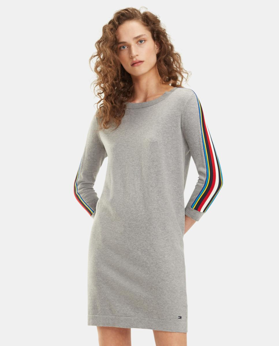 c6334815 Lyst - Tommy Hilfiger Grey Dress With Striped Sleeves in Gray