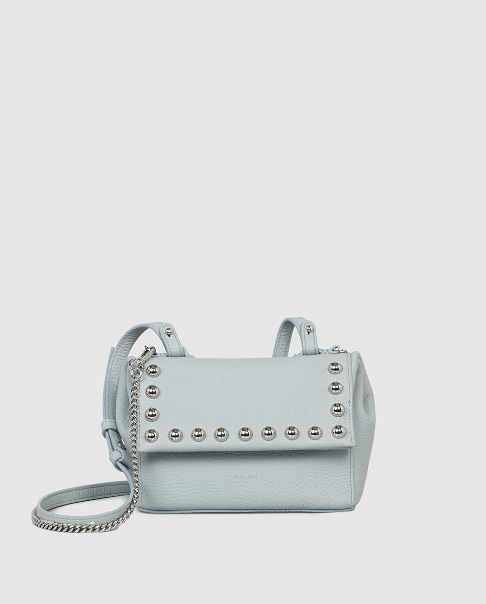 16f9ac76d3d7 AllSaints Cami Pale Blue Leather Mini Crossbody Bag With Studs in ...