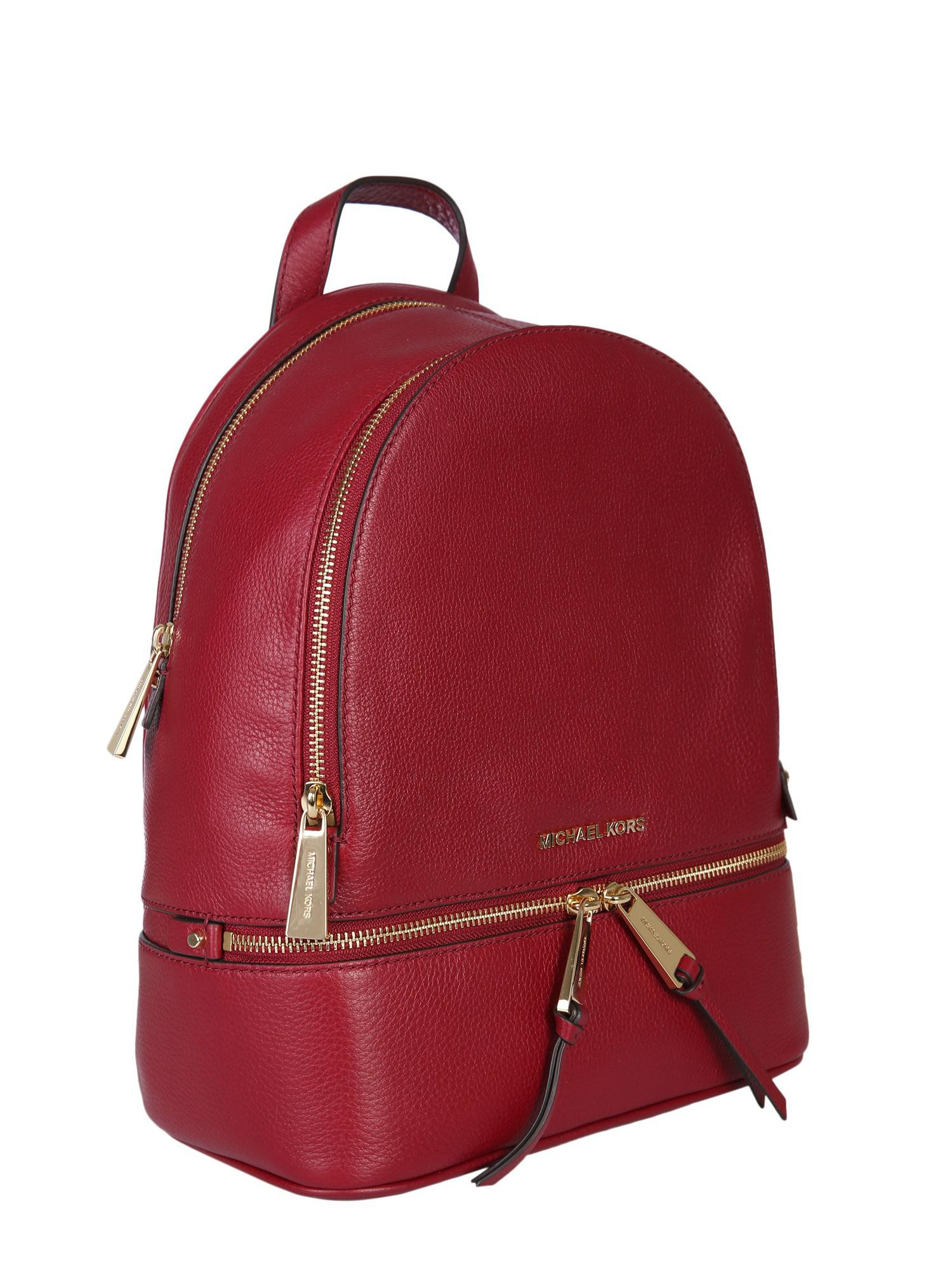 c12abf7ec60c ... studded backpack in red lyst d2908 f89f7; spain michael michael kors red  medium rhea zip backpack in leather lyst. view fullscreen 589f8