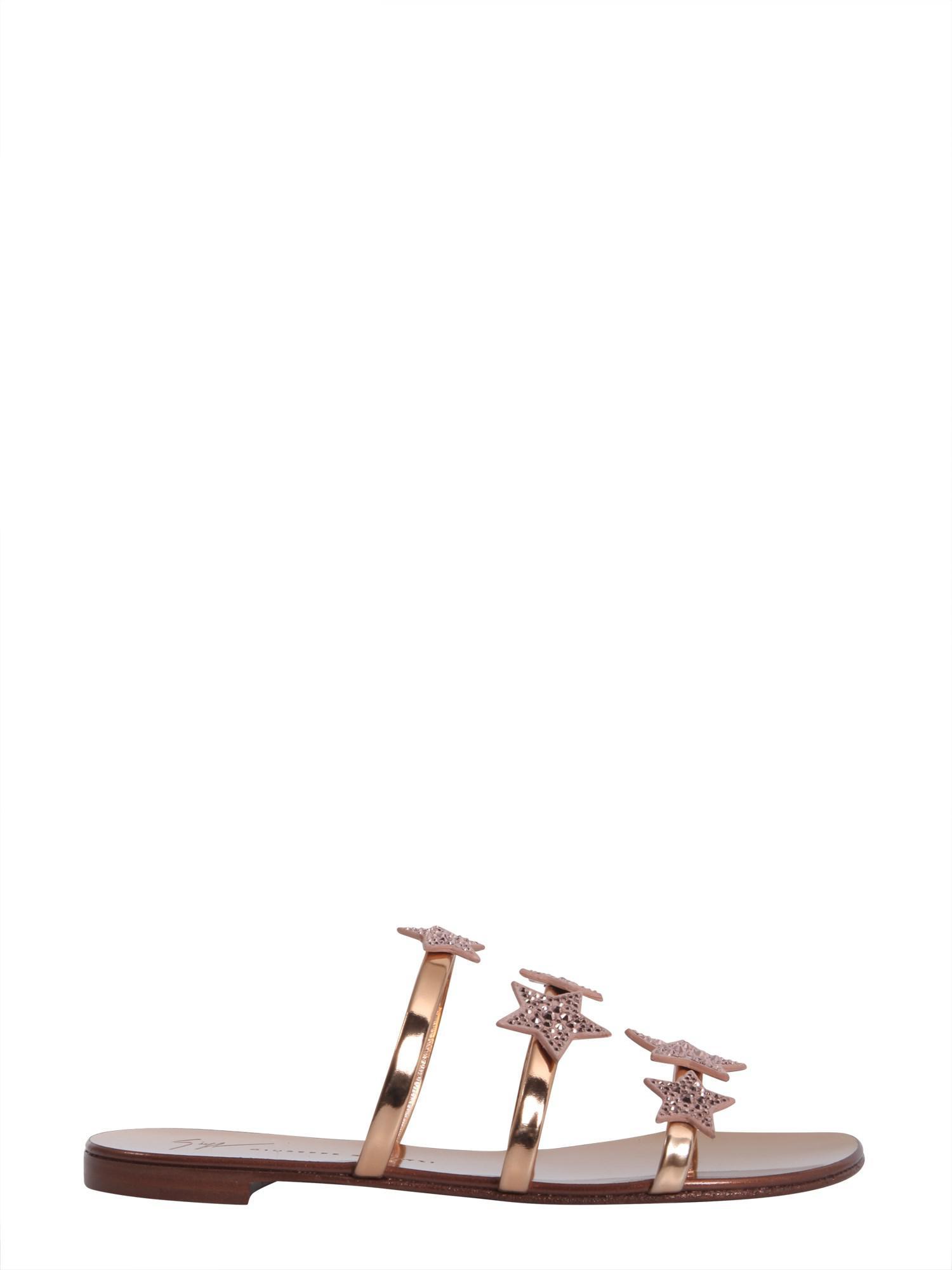 Giuseppe Zanotti Mirrored patent flat sandal with three straps and stars ANYA STAR fYvcV9