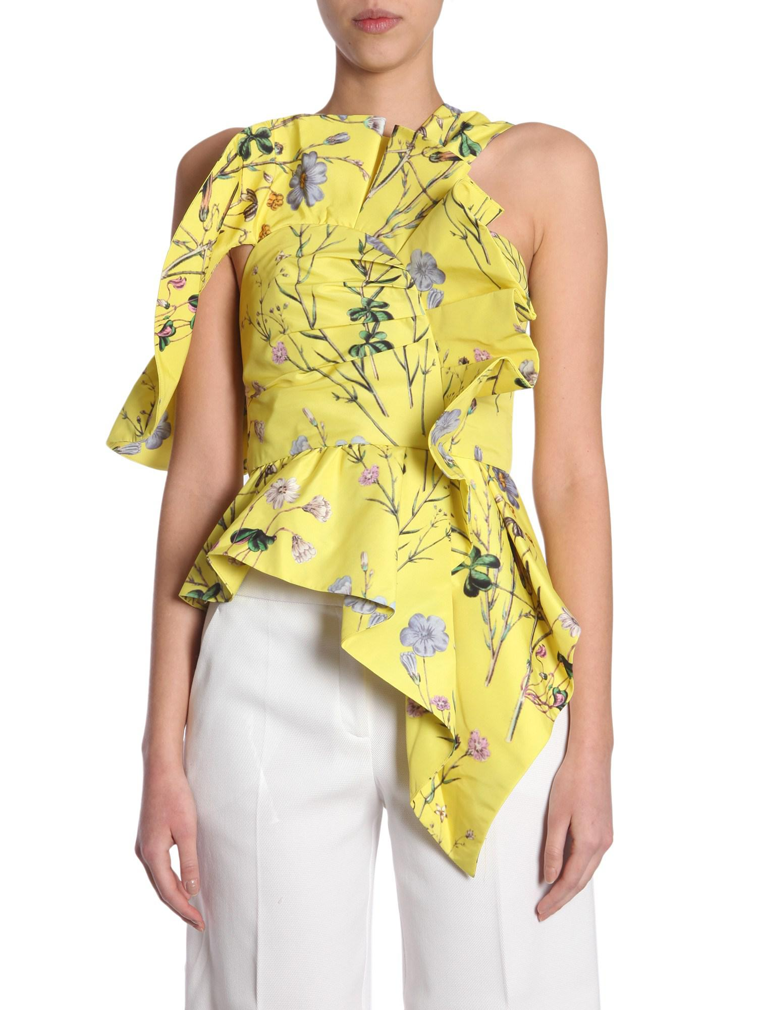 Official Site For Sale Asymmetric graphic floral-print top Self Portrait Clearance Cheapest Good Selling Clearance Big Discount Great Deals f4Hm2aN