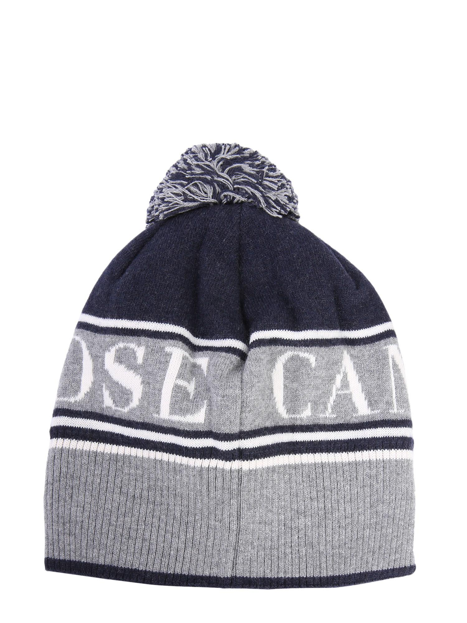 00bc646f85b Canada Goose - Blue Wool Beanie With Logo And Pompom for Men - Lyst. View  fullscreen