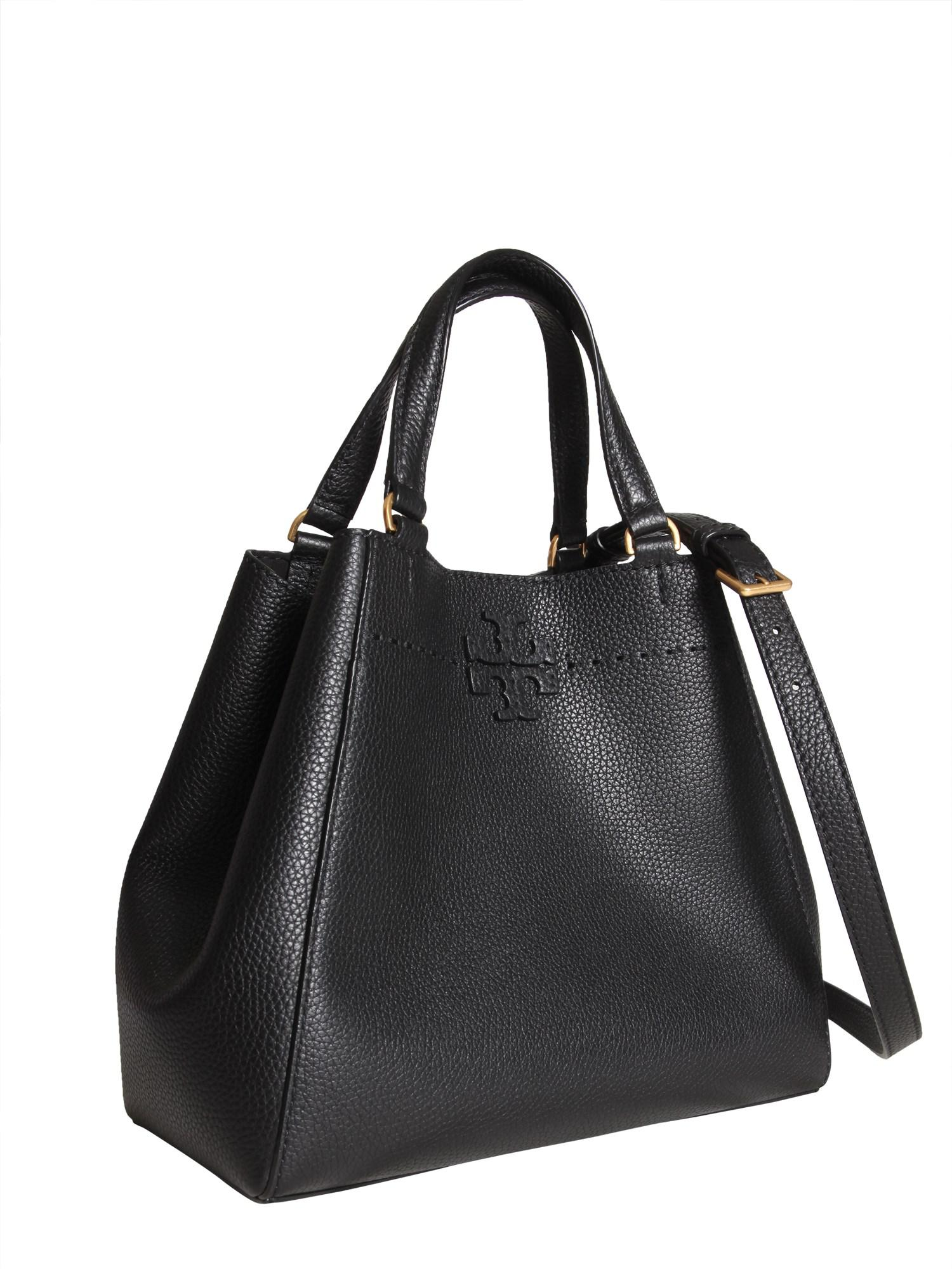 fd7acd2aa2e9 Lyst - Tory Burch Mcgraw Small Carryall Hammered Leather Bag in Black