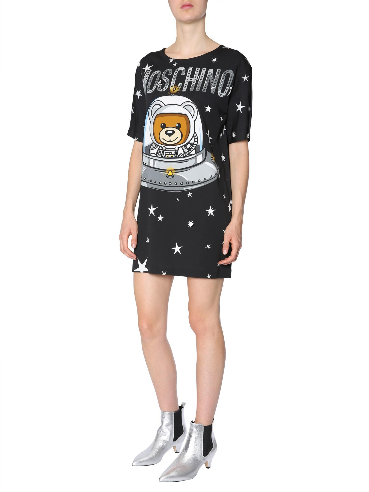 fb6cfff0a2c7 Lyst - Moschino Teddy Bear Printed Viscose Dress in Black - Save ...