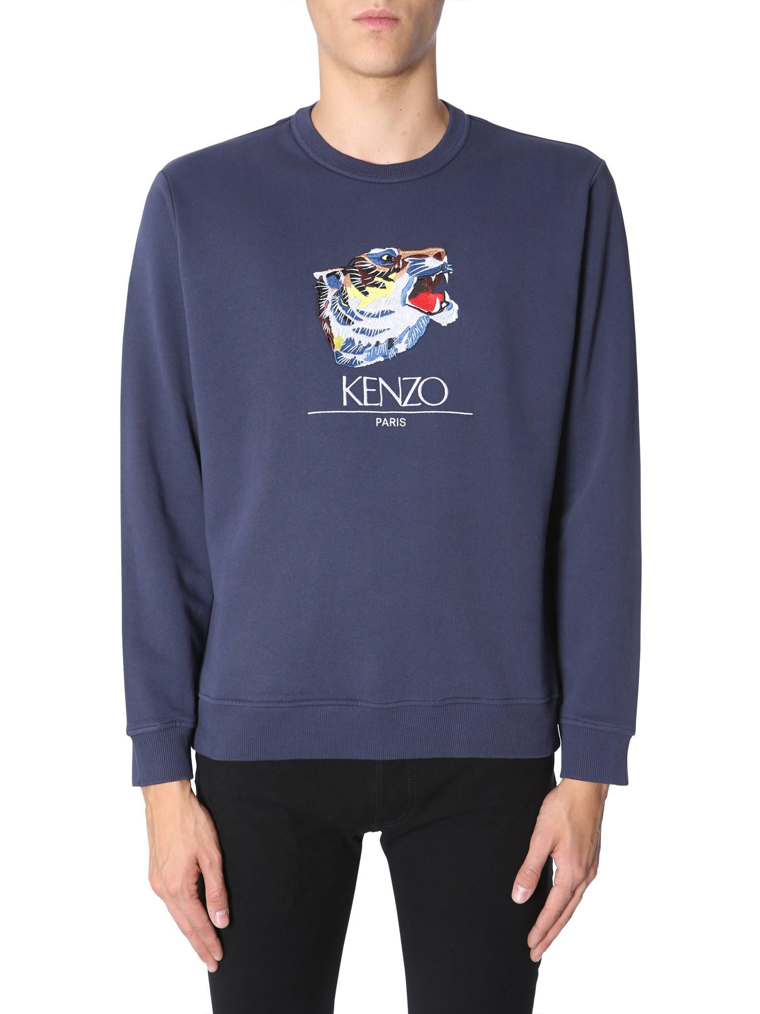 7da3a70ac5 KENZO - Blue Crewneck Cotton Sweater With Tiger Head Embroidery for Men -  Lyst. View fullscreen