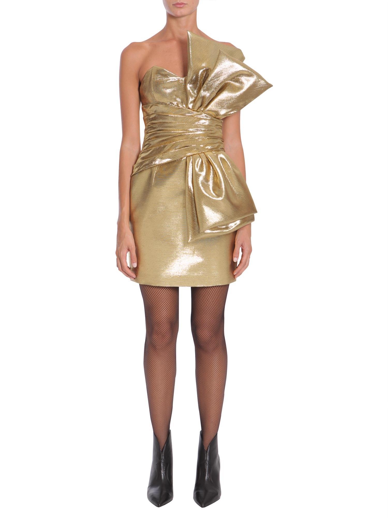7c52515b9b Saint Laurent Gold Bow Laminated Mini Dress in Metallic - Lyst