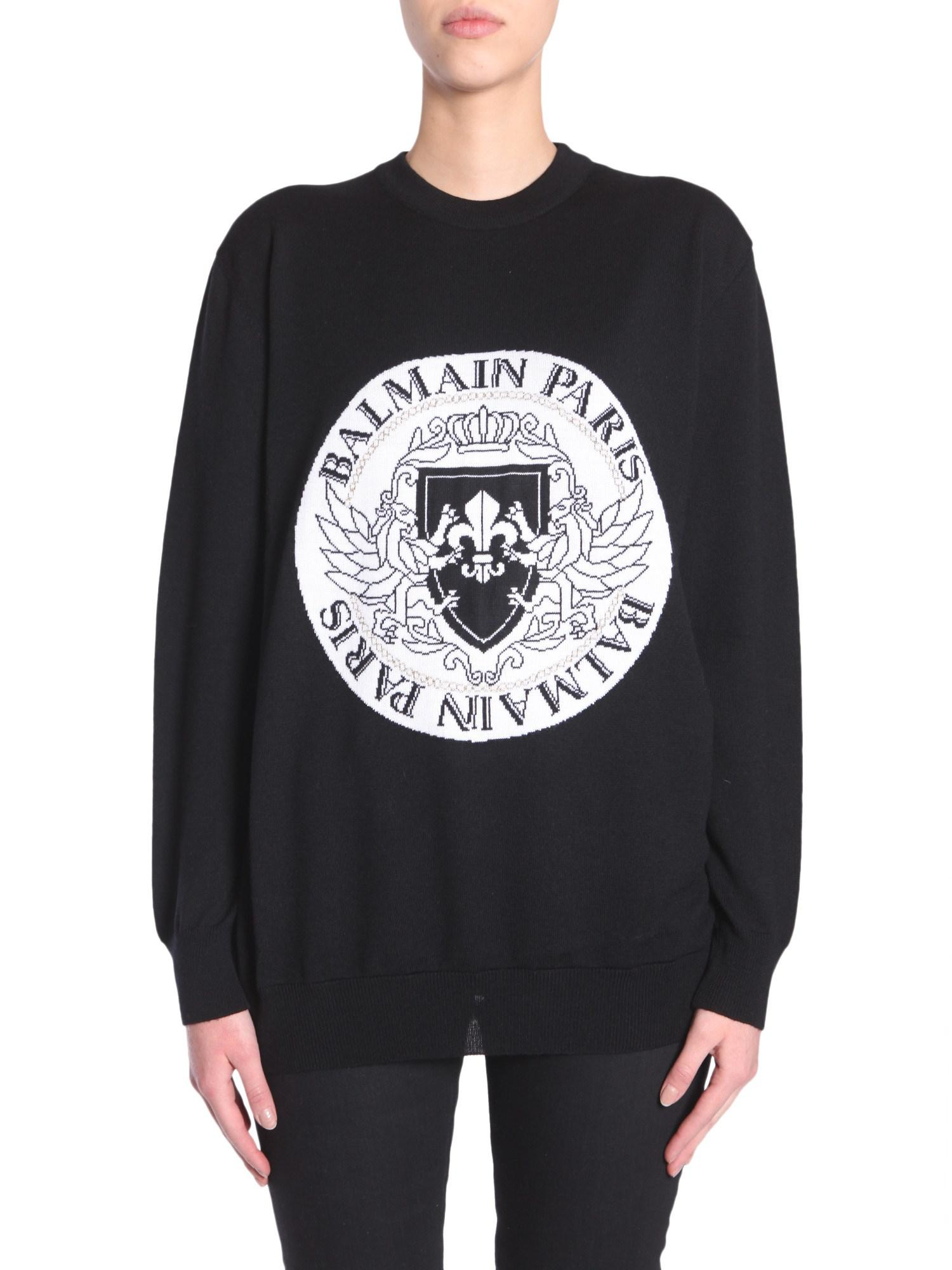 logo intarsia sweater - Black Balmain Latest Discount Cheap The Cheapest Store 23BqDay