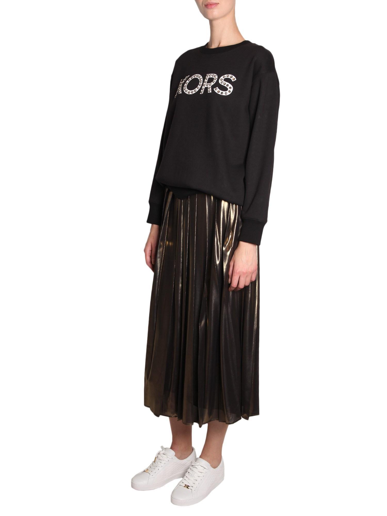 91a48e37686 MICHAEL Michael Kors. Women s Black Cotton Mixed Sweatshirt With Studded  Logo
