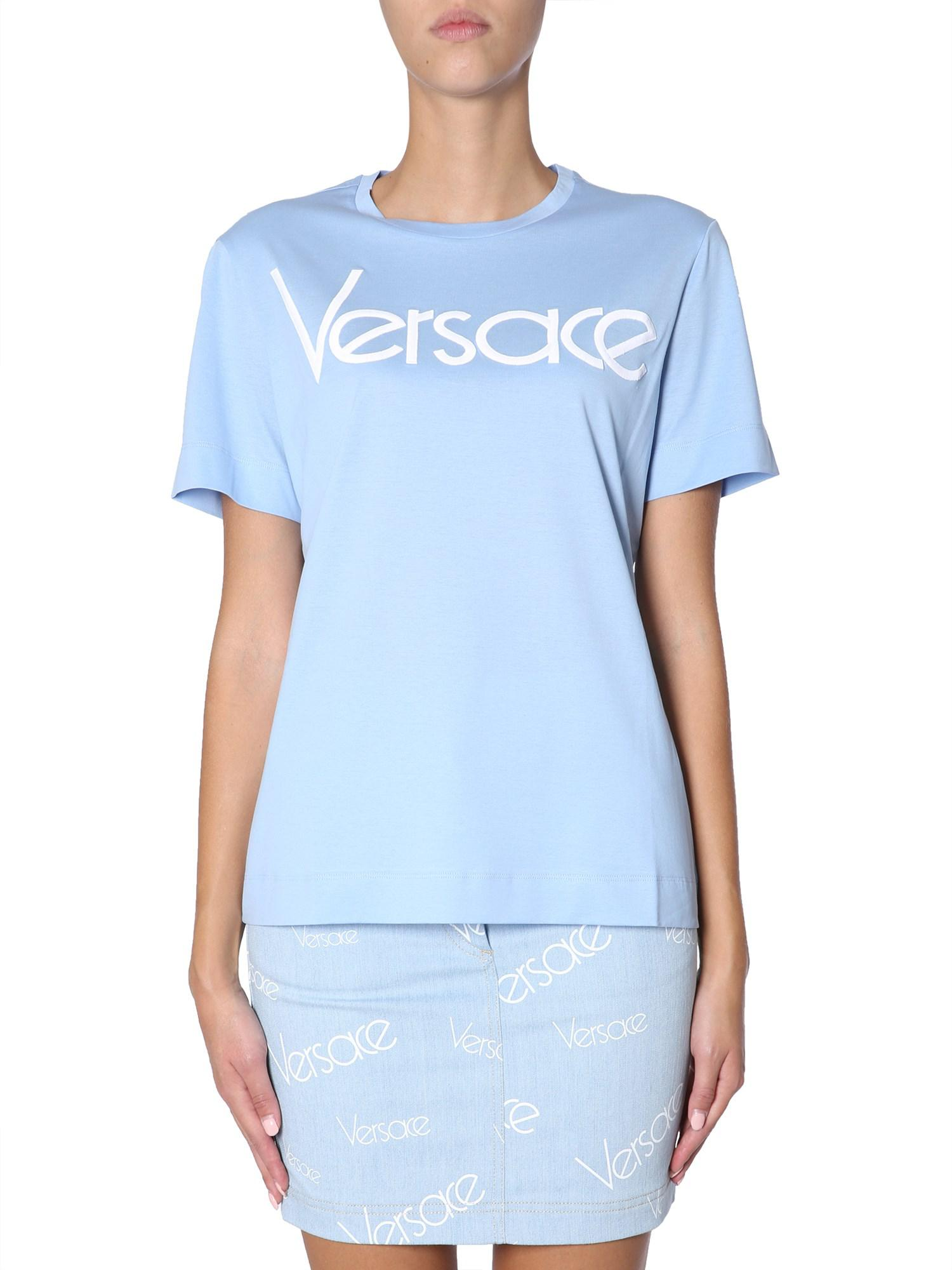e94da9ac581c Versace - Blue Round Collar Cotton T-shirt With Embroidered Vintage Logo -  Lyst. View fullscreen
