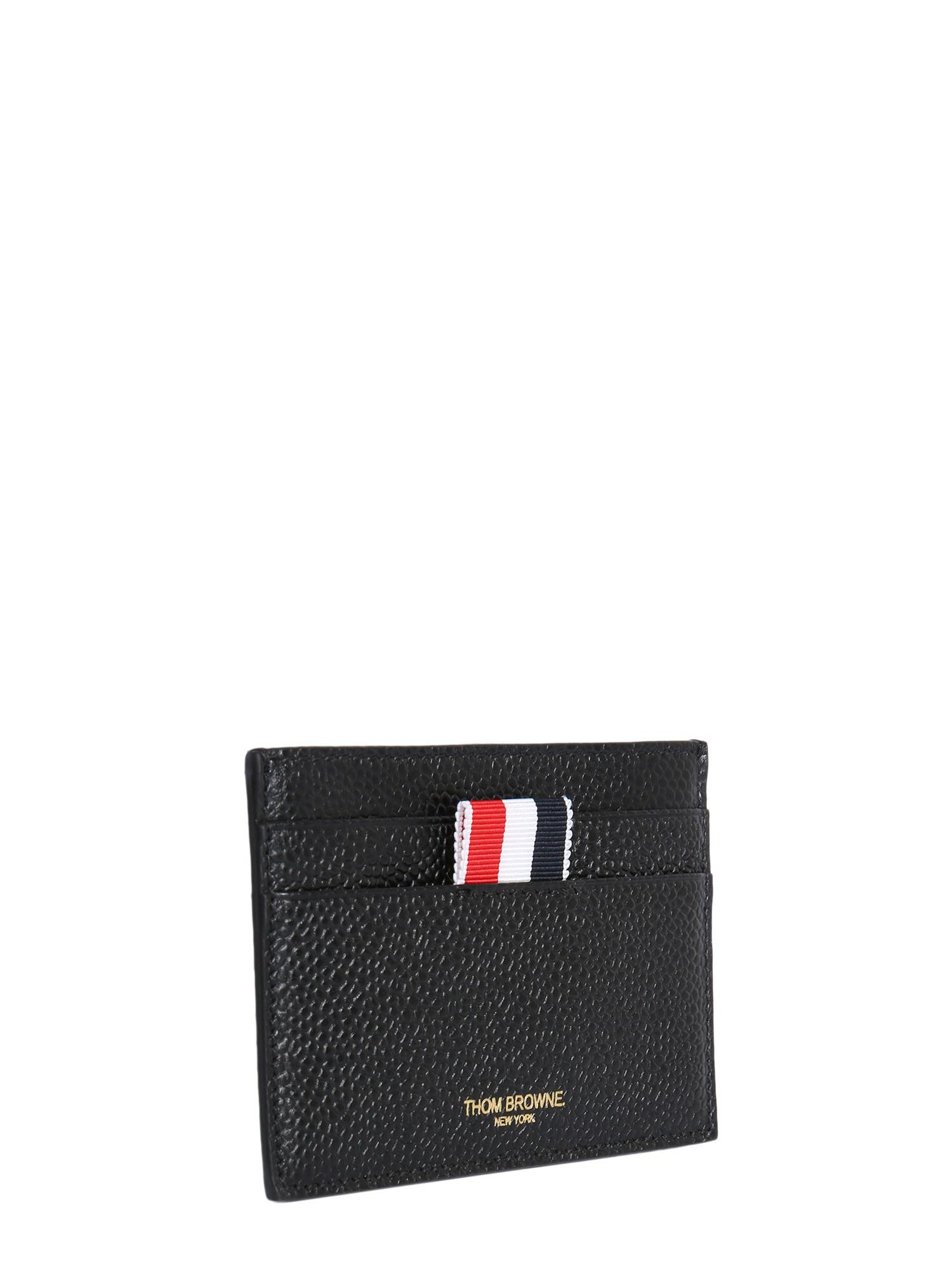 2b2ee7dca139 Lyst - Thom Browne Granulated Leather Card Holder With Grosgrain Details in  Black for Men - Save 23%