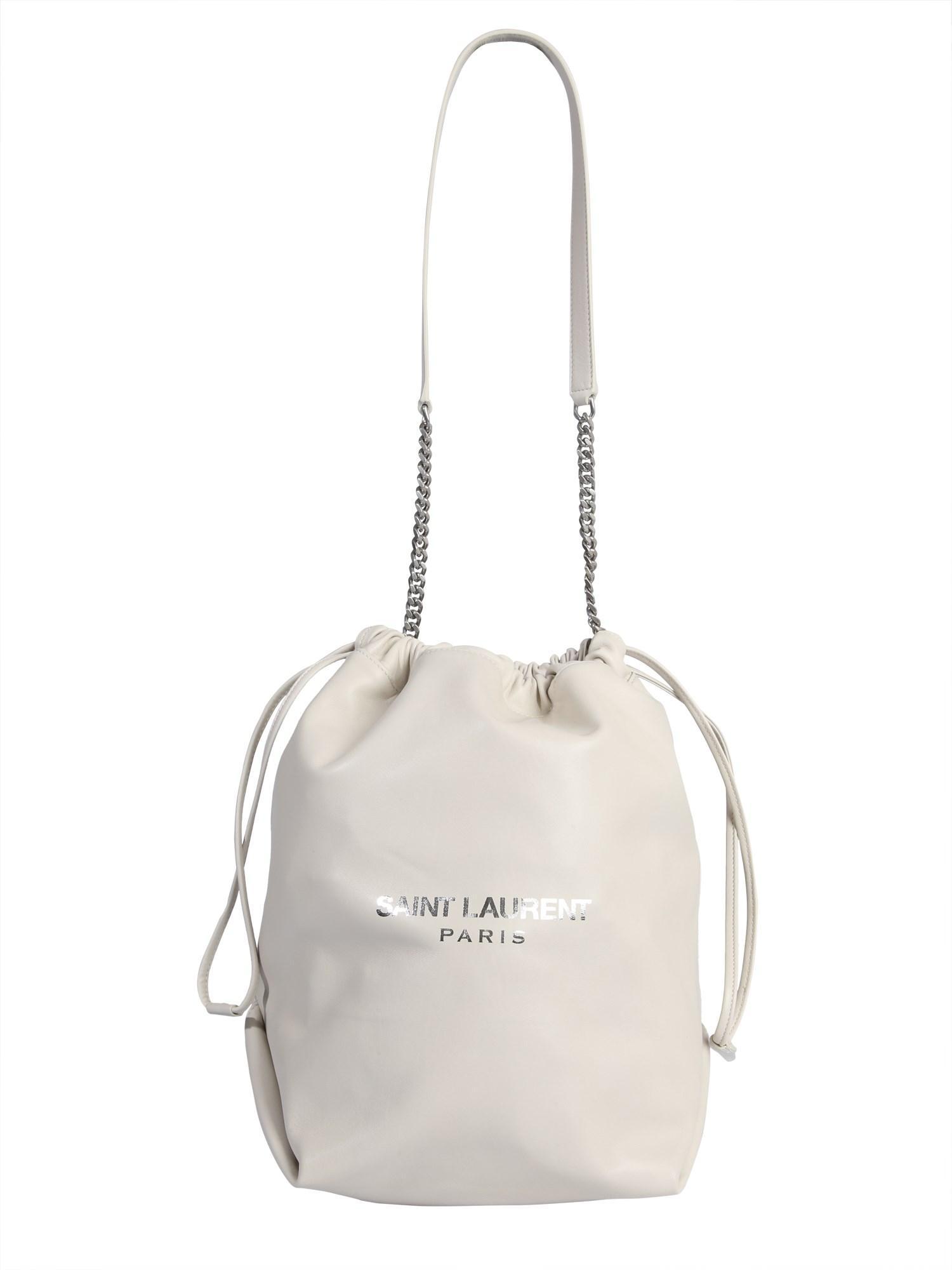 9121385606bda Lyst - Saint Laurent Teddy Leather Bag in White