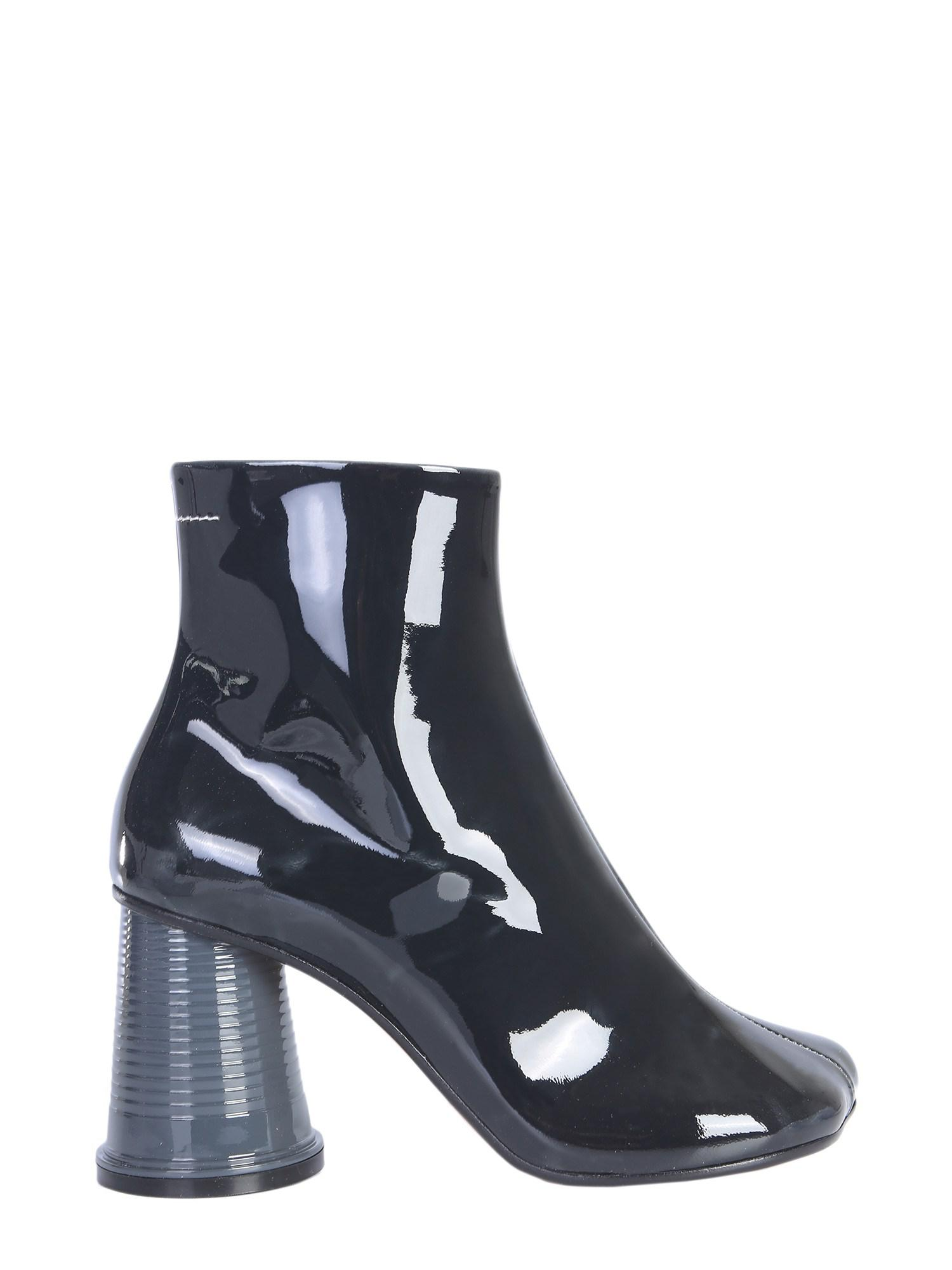 f0f16fa04f5 MM6 by Maison Martin Margiela. Women s Blue Patent Leather Ankle Boots With  Tumbler Heels