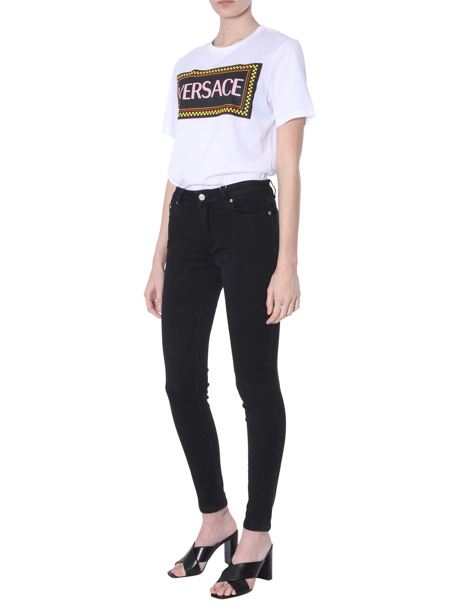 adc4b6bd Versace - White Cotton T-shirt With Wheeled Print 90s Vintage Logo - Lyst.  View fullscreen